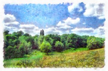 Summer landscape paintings, oil digital art, watercolor