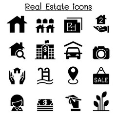 Real Estate Business icon set Vector illustration Graphic Design.