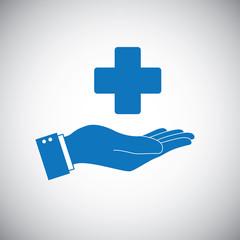 Hand and health care cross symbol logo
