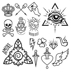 Old school tattoo symbols. Isolated vector image.