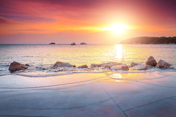 Majestic luxury beach and wonderful sunset near Rovinj, Istria, Croatia