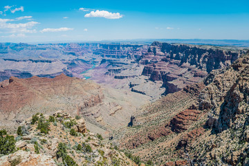 Clear blue sky over the canyon. Grand Canyon National Park
