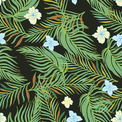 Hand Drawn Seamless Background With Palm  Leaves And Tropical Flowers.