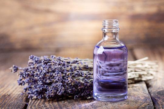 glass bottle of lavender essential oil