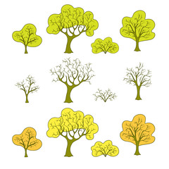 Set of flat abstract trees and plants for the drawn wood or the forest, seasons