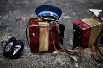 Instruments belonging to the Orange order marching band are left outside Drumcree Parish Church before approaching a police line in Portadown