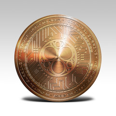 copper sonm coin isolated on white background 3d rendering