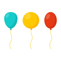 Blue, yellow and red balloons in cartoon flat style isolated on white background. Vector set