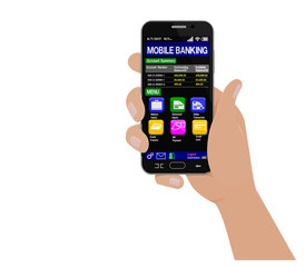 Isolated Hand hold smart phone which using banking application
