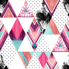 Watercolor ornate rhombuses seamless pattern.