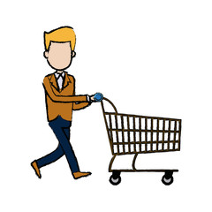 businessman character push shopping cart