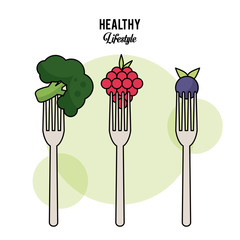 white background of healthy lifestyle with foods on cutlery forks broccoli grapes and blueberry