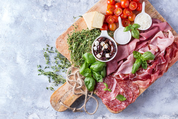 Set of meat antipasti