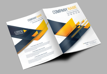 Brochure Cover Layout with Dark Blue and Orange Accents 1