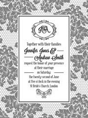 Damask pattern design for wedding invitation in black and white lace. Pattern is included as seamless swatch for easier use and edit.