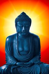 buddha with light of wisdom, peacful asian buddha zen tao religion art style statue.