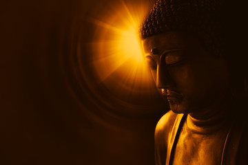 Foto op Plexiglas Boeddha buddha with light of wisdom, peacful asian buddha zen tao religion art style statue.