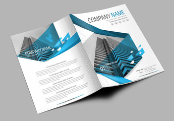 Brochure Cover Layout with Blue Accents 1