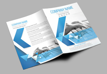 Brochure Cover Layout with Blue Accents 2