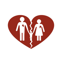 Silhouettes of man and woman and child in a broken heart - concept of divorce