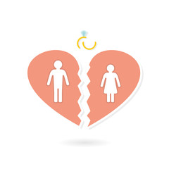 Silhouettes of a man and a woman in a broken heart and a broken ring - the concept of a divorce