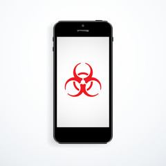 Smartphone virus protection concept. Biohazard symbol on the screen