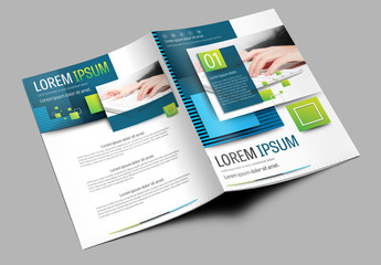 Brochure Cover Layout with Green and Blue Accents