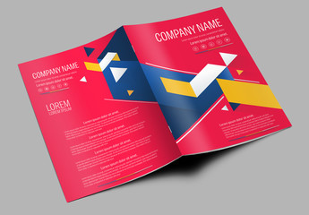 Brochure Cover Layout with Red and Blue Accents