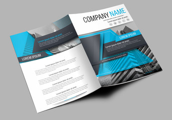 Brochure Cover Layout with Blue and Gray Accents