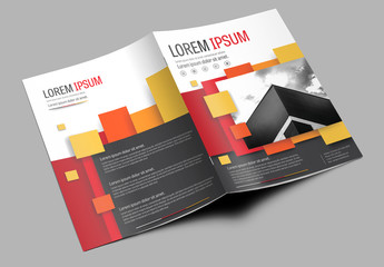 Brochure Cover Layout with Red and Yellow Accents