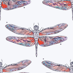 Seamless pattern of a red dragonfly on a white background.