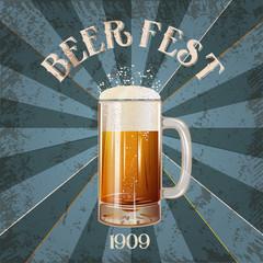 Vintage beer mug grunge vector illustration poster, isolated. Beer fest vector