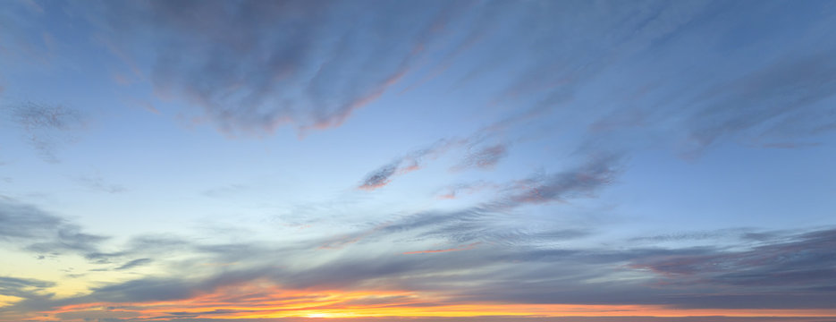 Sky panorama at twilight time