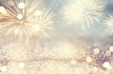 Fototapete - Vintage Fireworks and bokeh in New Year eve and space for text. Abstract background holiday.