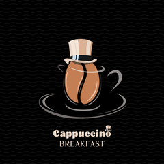 Gentleman coffee bean Cappuccino Breakfast with a top hat vector illustration. Perfect cafe poster. Stylish coffee cup with coffee bean.