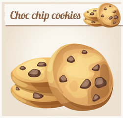 Choc chip cookies icon. Cartoon vector illustration. Series of food and drink and ingredients for cooking.