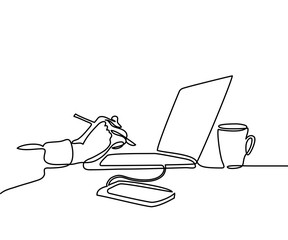 Continuous line drawing. Laptop computer with cup of coffee and hand with pen, phone. Vector illustration
