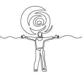 Continuous line drawing. Man meeting sun - success concept. Vector illustration