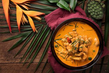 Red curry with pork. thai food concept