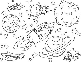 The rocket flies to the moon coloring book. Antistress planet, earth and moon Vetor illustration in zentangle style.
