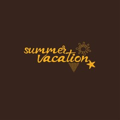 Summer vacation card. Hand drawn lettering