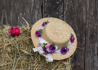 Straw hat on the hay