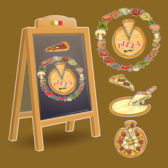 Chalkboard and set of  colorful pizza ingredient icons.