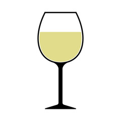 White Wine Glass Icon Vector Isolated