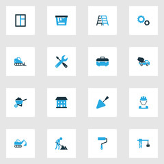 Architecture Colorful Icons Set. Collection Of Maintenance, Lifting Hook, Cement Vehicle And Other Elements. Also Includes Symbols Such As Casement, Tools, Construction.