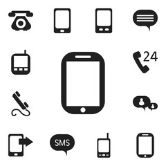 Set Of 12 Editable Gadget Icons. Includes Symbols Such As Retro Telecommunication, Chatting, Phone And More. Can Be Used For Web, Mobile, UI And Infographic Design.
