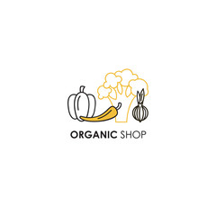 Logo design template in line icon style for organic products - vegetables symbols in two colors - yellow and black.
