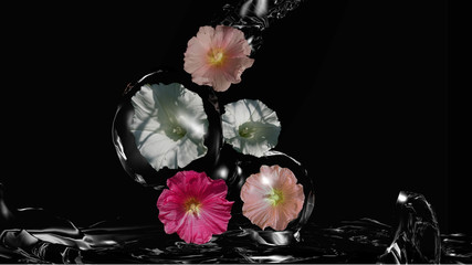 Blumen umhüllt von Wasser, 3d Illustration