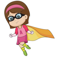 Girl wearing superhero costume.vector and illustration.