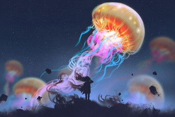 silhouette girl looking at giant jellyfish floating in the sky, digital art style, illustration painting Wall mural